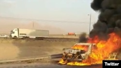 Three illegal Afghan migrants in Yazd Province of Iran burned to death in a crash after police shot at the vehicle fleeing from a checkpoint. June 4, 2020.