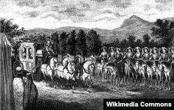 Встреча Екатерины II «Амазонской ротой» вблизи Балаклавы в 1787 году. Впереди строя - ротный капитан Елена Ивановна Сарданова