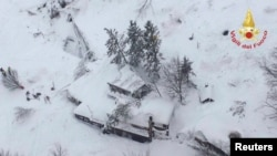 An aerial view shows the Hotel Rigopiano in Farindola, central Italy, after it was hit by an avalanche on January 19.