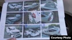 БТР басып кеткен «Лада Приора» автомобилінің суреттері. Фотографияларды Сергей Помазанов берген.