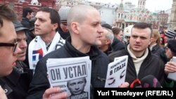 Оппозиционер Сергей Удальцов на акции на Красной площади