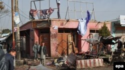 The scene of a suicide bomb attack in Maimanah in Faryab Province. (file photo)