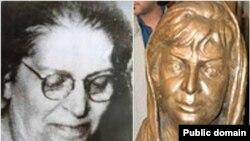 تندیس (راست) و تصویر صدیقه دولتآبادی