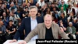 Сергей Лозница и актер Борис Каморзин на мировой премьере фильма «Донбасс» в Каннах