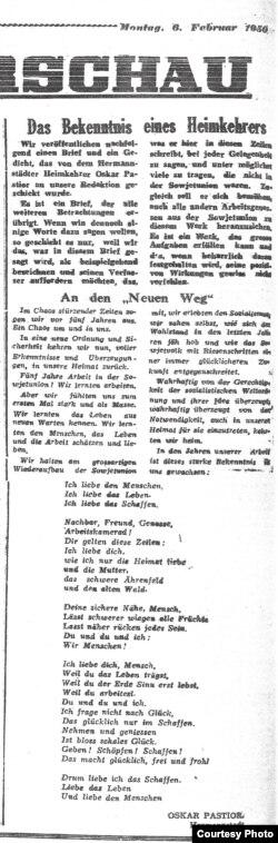 """""""Mărturisirea unui repatriat"""" - Oskar Pastior (Neuer Weg, 6.2. 1950)"""