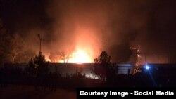 Пожар на рынке в Худжанде, 16 ноября 2014 года.
