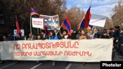 Armenia - Supporters of the opposition Armenian National Congress march through Yerevan, 1Mar2015.