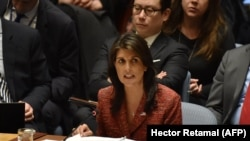 U.S. ambassador to the United Nations, Nikki Haley speaks during a UN Security Council meeting, at United Nations Headquarters in New York, April 10, 2018