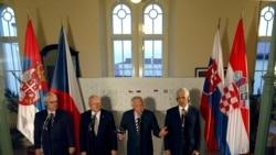 Predsjednici Vaclav Klaus, Ivo Josipović, Ivan Gašparovic i Boris Tadić, Prag, 18. veljače 2012.
