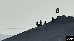 Alleged Islamic State (IS) militants stand next to an IS flag atop a hill in the Syrian town of Kobani in early October 7.