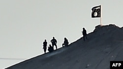 Islamic State (IS) militants stand next to an IS flag atop a hill in the Syrian town of Ain al-Arab, known as Kobani in October.