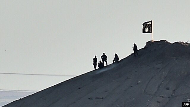 Сириядағы Кобани қаласы маңында «Ислам мемлекеті» тобының жалауы қасында тұрған адамдар. 7 қазан 2014 жыл.