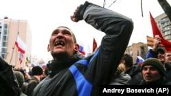 Участники пророссийского митинга в Донецке, 16 марта 2014 года