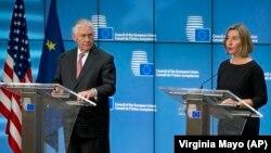 Прес-конференција шефицата на дипломатијата на ЕУ Могерини и државниот секретар на САД Рекс Тилерсон. 05.12.2017