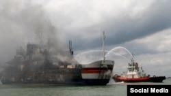 Anija e përfshirë nga flaka në mes te Greqisë dhe Italisë