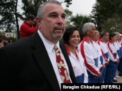 Manuel Oquendo, president of the USA Domino Federation, in Sukhumi