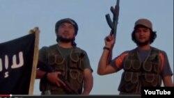 """""""Сириядағы қазақ жиһадшылары"""" туралы интернетте жарияланған видеодан скриншот."""
