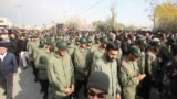 Members of Iran's Islamic Revolutionary Guard Corps take part in a demonstration against the assassination of the Iranian General Qasem Soleimani, head of the elite Quds Force, and Iraqi militia commander Abu Mahdi al-Muhandis won January 3.