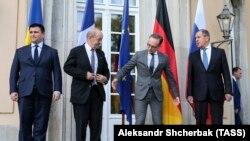 Слева направо: Павел Климкин, Жан-Ив Ле Дриан, Хайко Маас и Сергей Лавров. Берлин, 11 июня 2018 года