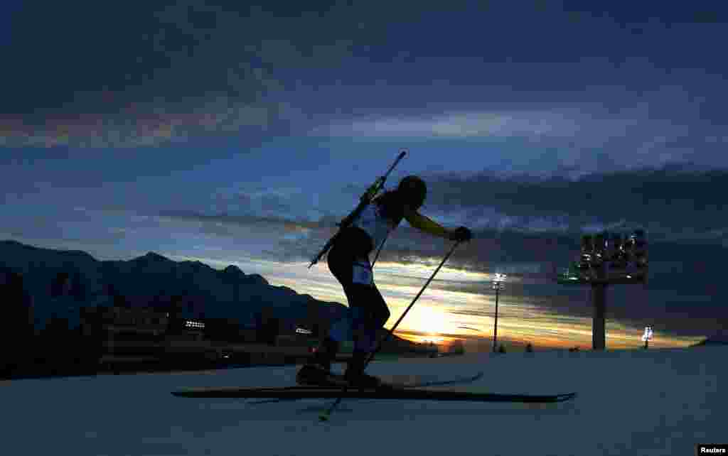 Sweden's Fredrik Lindstroem competes in the men's biathlon 10 kilometer sprint event.