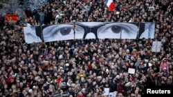 France -- Hundreds of thousands of French citizens take part in a solidarity march (Marche Republicaine) in the streets of Paris, January 11, 2015