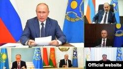 Главы государств в ходе сессии Совета коллективной безопасности ОДКБ. 2 декабря 2020 года.