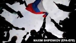 На акции протеста сторонников Алексея Навального в Москве, 7 октября 2017