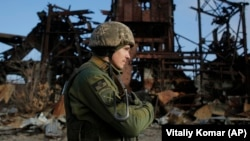 A Ukrainian soldier in the town of Avdiyivka in the Donetsk region in November