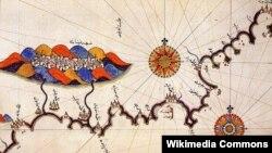 Карта Гранады из «Книги морей» Пири-реиса