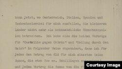 Fragment din scrisoarea lui Stefan Zweig către Eugen Relgis (În arhiva National Library of Israel)