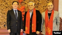 Photo posted on Twitter account of Chinese Ambassador in Tehran Showing Ambassador Chang Hua (L) with Hamid Arabnejad (C), CEO of Revolutionary Guard controlled Mahan Air. January 2, 2020