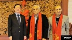 Photo posted on Twitter account of Chinese Ambassador in Tehran Showing Ambassador Chang Hua (L) with Hamid Arabnejad (C), CEO of Mahan Air. January 2, 2020