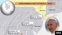 Маршрут визита папы Франциска в США