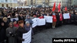 At least 1,000 protesters gathered in Kazan on January 9.