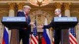 Дональд Трамп (ліворуч) і Володимир Путін у Гельсінкі, 16 липня 2018 року
