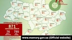 Карта предполагаемых переименований Украинского института национальной памяти