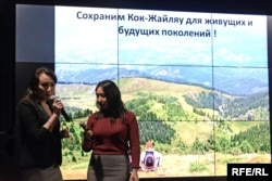 Модераторы независимого обсуждения Kоk-Jaılıaý basqosý Елизавета Цой и Фариза Оспан. Алматы, 20 декабря 2018 года.