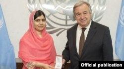 Генеральный секретарь Антониу Гутерриш объявил Малалу Юсуфзай новым Посланцем мира ООН