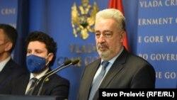 Premijer Crne Gore Zdravko Krivokapić i vicepremijer Drritan Abazović na pres konferenciji u Vladi Crne Gore 18. decembra 2020.
