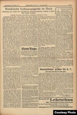 """Un articol al lui Sextil Pușcariu în ziarul nazist din România """"Südostdeutsche Tageszeitung"""", 1942"""