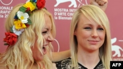 Director Kitty Green (right) and Femen activist Inna Shevchenko pose at the 70th Venice Film Festival.