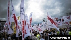 Polish union protests in Warsaw