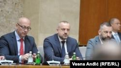 Goran Rakić, Milan Radojičić i Dalibor Jeftić na sastanku u Beogradu, 24. maja 2019.