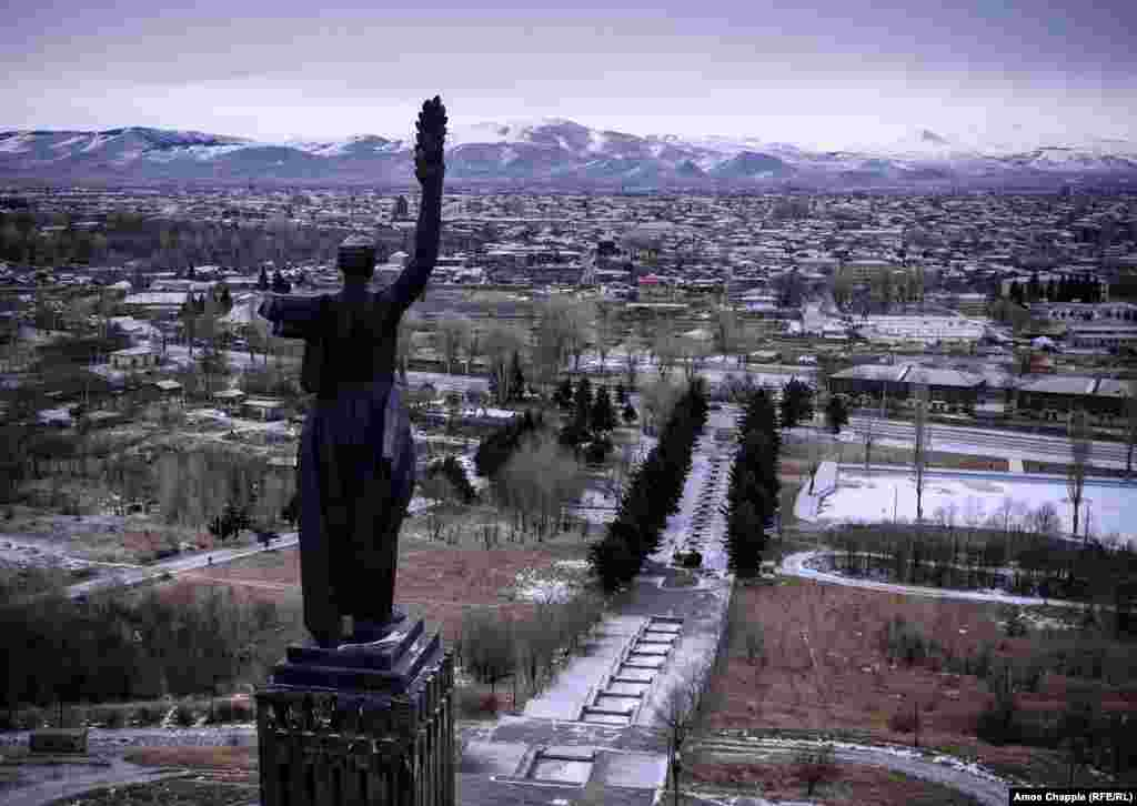 A statue of Mother Armenia looks out over Gyumri. In June 2015, five months after the killing of the Avetisian family, the body of Russian soldier Ivan Novikov was found near the statue with multiple stab wounds. Another Russian soldier was arrested on suspicion of murder.