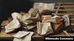 Ян Давідс дэ Хем, «Нацюрморт з кніжкамі» (17 ст.)