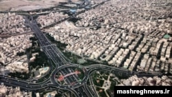 An aerial view of Hagh Shenas Square, south of Tehran, Iran. Undated.