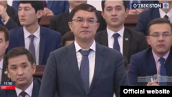 Newly appointed Finance Minister Jamshid Qochqorov appears before parliament in December 2017.