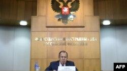 وزیر امور خارجه روسیه سخنرانی سالانه خود را انجام میداد.