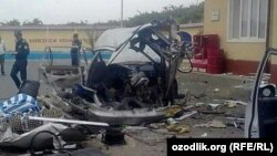Uzbekistan - remains of the Uzbek car Nexia after explosion in Samarkand region, undated