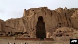 Место, где раньше находились всемирно известные статуи Будды, разрушенные талибами в 2001 году. Провинция Бамиан. Афганистан